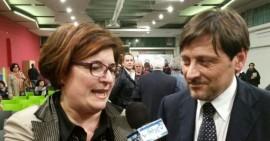 """Chiara Candela con il senatore Dario Stefano, leader della lista """"Noi a Sinistra con la Puglia"""""""