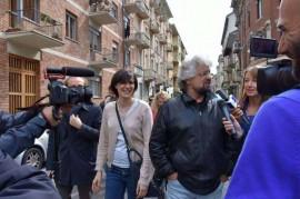 Beppe Grillo con Chiara Appendino, neo eletta sindaco di Torino