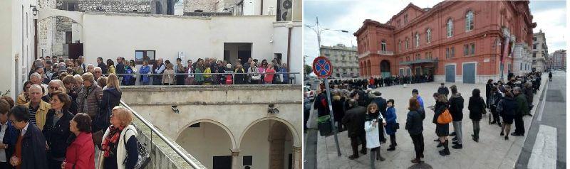 A sinistra la fila nel Castello di Conversano, a destra la fila al Petruzzelli a Bari