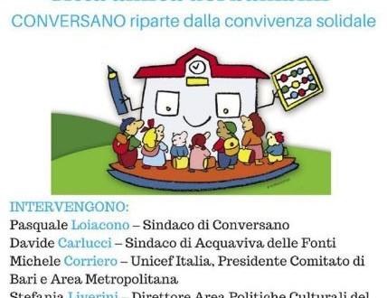 L'Unicef e il Comune di Conversano il 20 parlano di infanzia. Il 22 il Consiglio discute della cittadinanza onoraria ai figli dei migranti nati in Italia