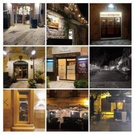 Le luci accese di alcuni dei ristoratori di Piazza Castello